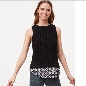 LOFT Patchwork Two In One Sweater Tank Petite S